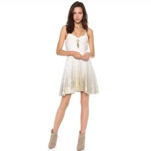 Free People mini gold foil ombré lace flare dress